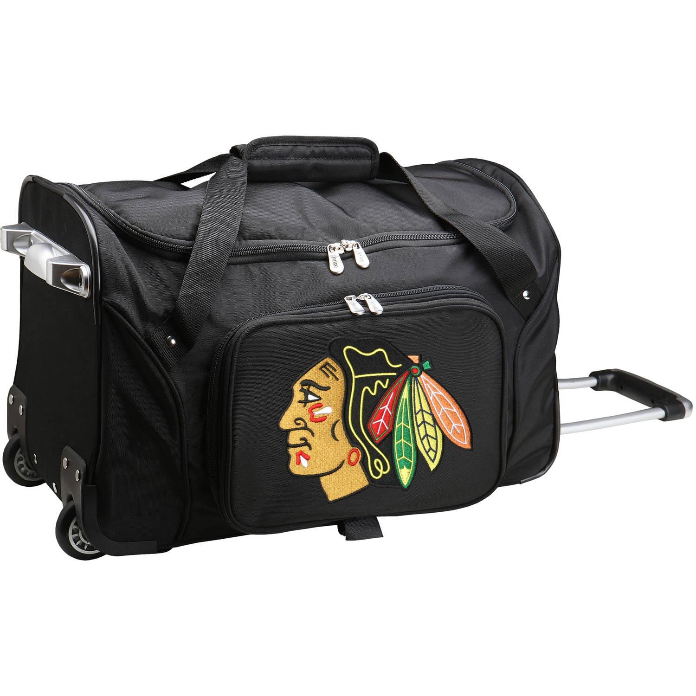"""Denco NHL 22"""" Rolling Duffel, Chicago Blackhawks by Mojo Licensing"""