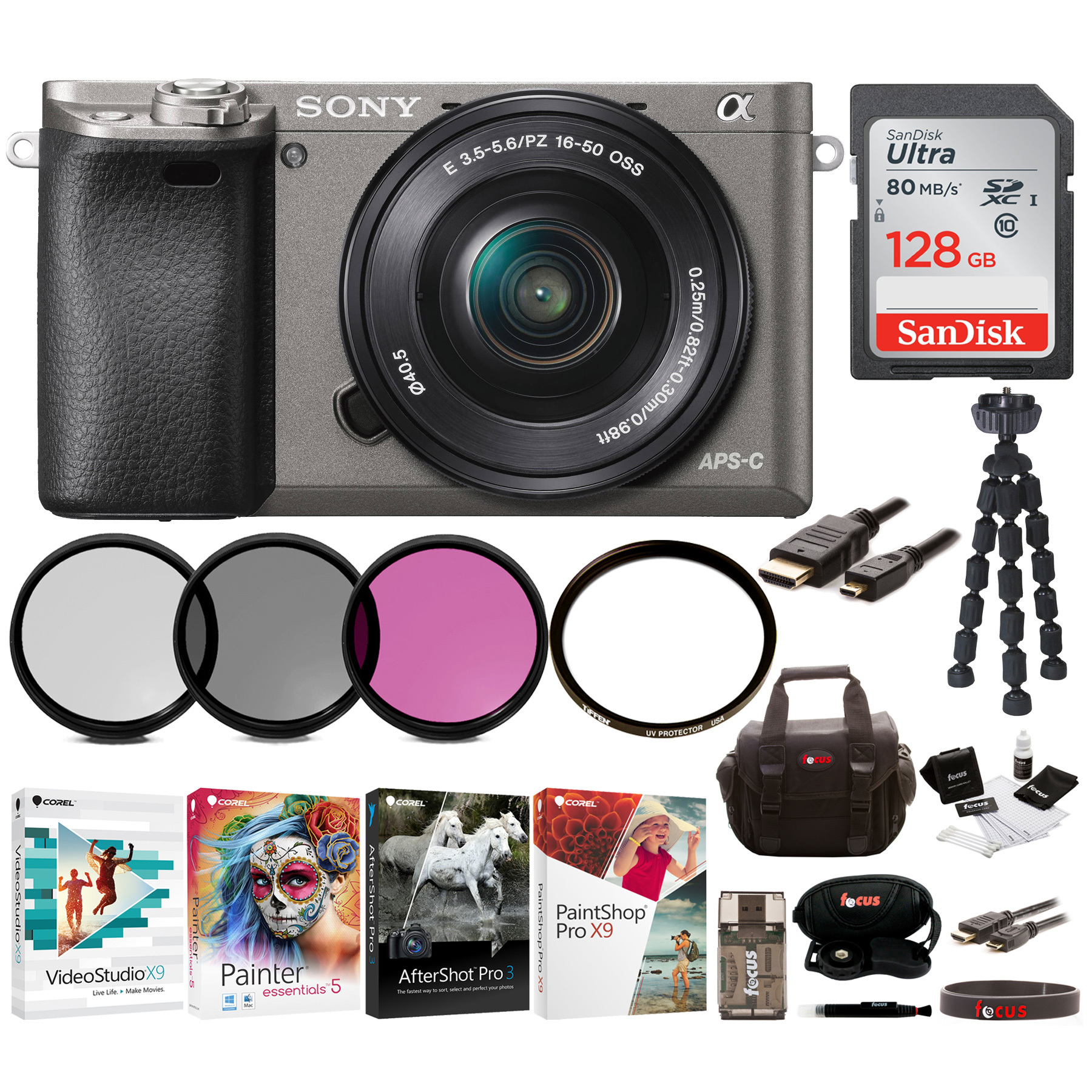 Sony Alpha a6000 Mirrorless Camera (Graphite) with 16-50mm Lens Bundle