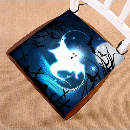 PHFZK Moon Chair Pad, Happy Halloween Fairy Ghost Seat Cushion Chair Cushion Floor Cushion Two Sides Size 16x16 inches - 100 Floors Halloween Level 16