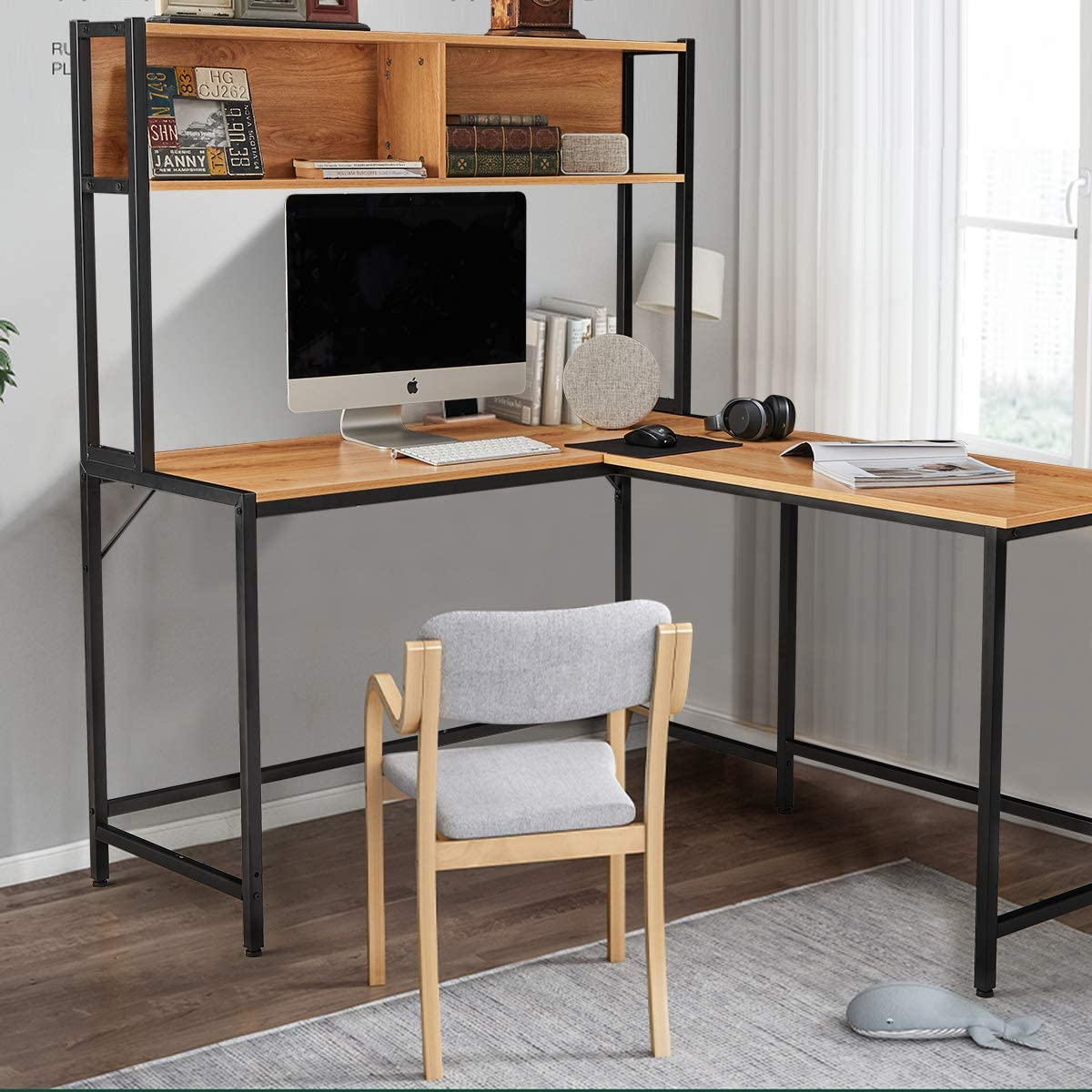 Erommy 55 Inch L Shaped Computer Desk With Hutch Space Saving Corner Desk With Storage Shelves Home Office Desk Study Workstation For Home Office Walmart Com Walmart Com