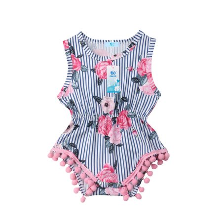 91dc4d1050d3 FUFUCAILLM - Summer Infant Girl Sleeveless Tassel Ball Striped ...