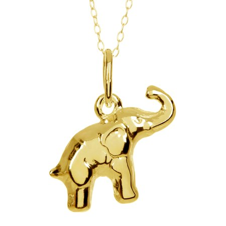 18kt Gold-Plated Sterling Silver Elephant Pendant Necklace