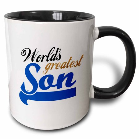 3dRose Worlds Greatest Son - Best son in the world - blue text on white in sporty font for your little boy, Two Tone Black Mug, (The Boss And The Real Boss Mugs)