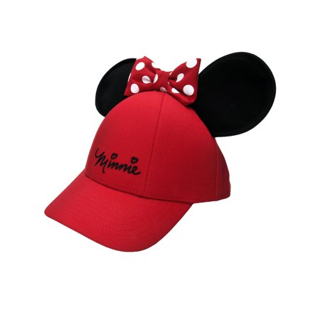 afb303493 Women's Adult Minnie Mouse Baseball Hat w/ Ears Red Bow Cap