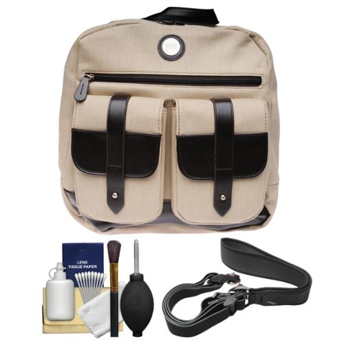 "Jill-E Digital 13"" Laptop Backpack Case (Tan/Brown) with Camera Strap + Cleaning Kit"