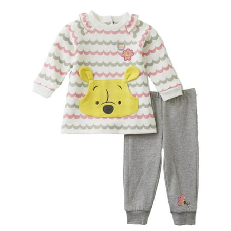 Disney Infant Girls Baby Outfit Winnie The Pooh Bear Sweatshirt   Pants Set  - Walmart.com 152405785