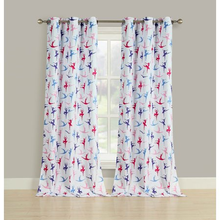 2 Room Darkening Window Curtains Ballerina Ballet Dancer Grommet Panel Pair 84