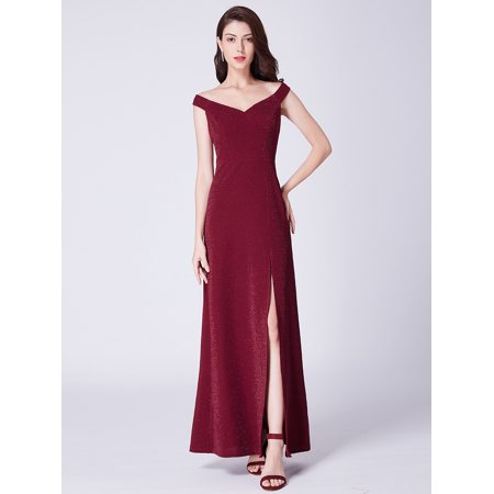 002cedde6912 Ever-Pretty - Ever-Pretty Womens Elegant Long Off Shoulder V-Neck Fitted  Winter Evening Prom Party Cocktail Gala Dresses for Women 07415 Burgundy US  6 ...