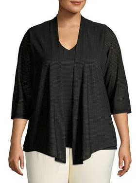 Plus Textured Three-Quarter Sleeve Cardigan
