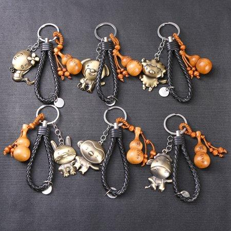HiCoup Chinese Zodiac Animal Year Symbol Peach Wood Keychain Alloy Key Ring  Bag Decor