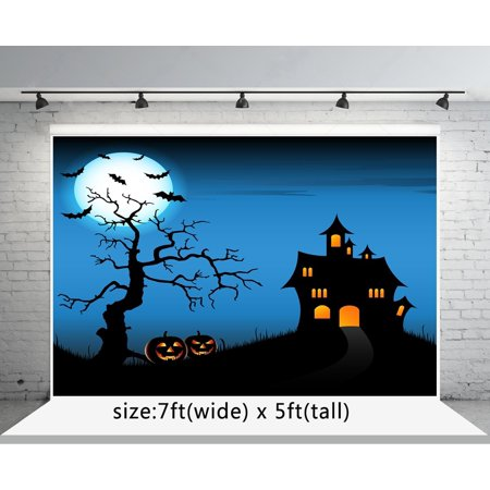 ABPHOTO Polyester 7x5ft Halloween Photography Backdrops Black Pumpkin Face Bat Moon Castle for Child Photo Studio Backgrounds](Halloween Pumpkin Faces Photos)