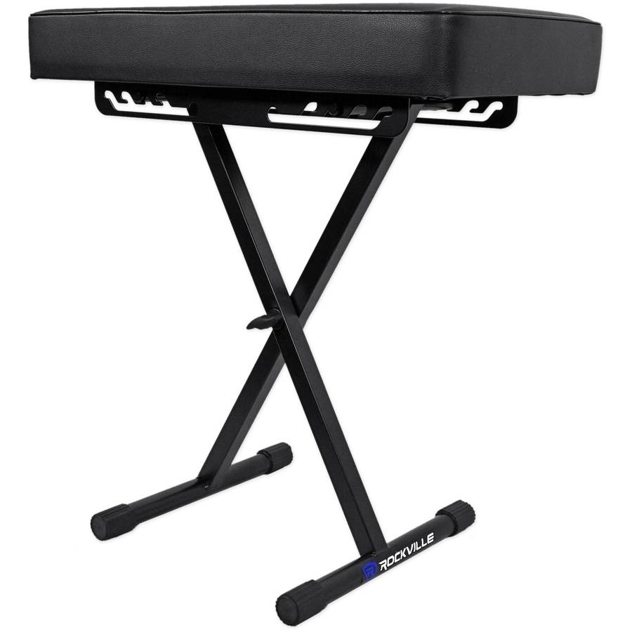 Rockville RKB61 Extra Thick Padded Foldable Keyboard Bench with Quick-Release by