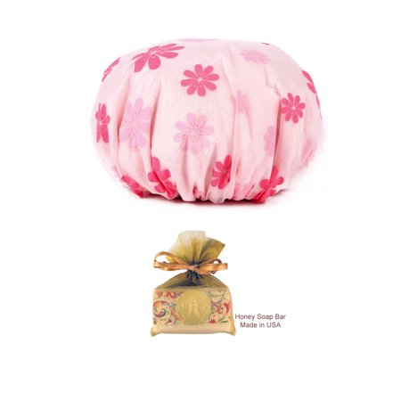 Terry Lined Double Layers Elastic Reusable Bathing Shower Cap with HONEY Soap Bar for - Line Double Layer Suit