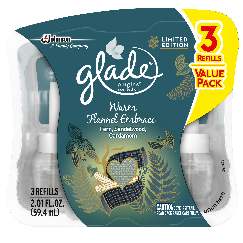 Glade PlugIns Scented Oil Air Freshener Refill, Warm Flannel Embrace, 3 refills, 2.01 fl oz