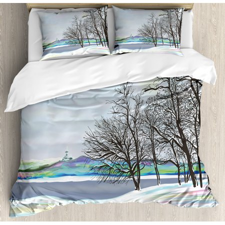 Nature King Size Duvet Cover Set  Rural Winter Forest With Leafless Tree Branches Digital Vibrant Effects Artwork  Decorative 3 Piece Bedding Set With 2 Pillow Shams  Multicolor  By Ambesonne