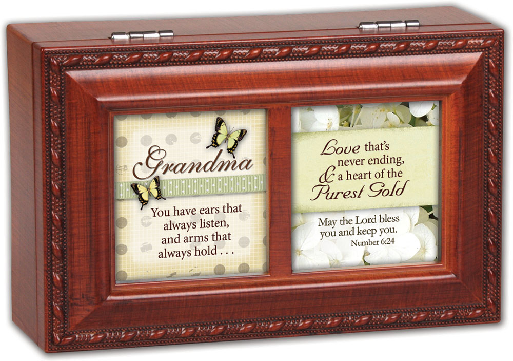 Cottage Garden Grandma You Have Woodgrain Petite Music Box   Jewelry Box Play... by