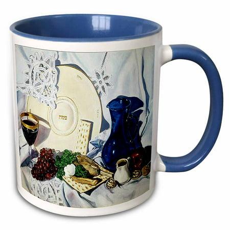 3dRose Passover Seder - Two Tone Blue Mug, 11-ounce