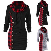 Women Autumn and Winter Cowl Neck T Shirt Dress Casual Long Sleeve Sweater Plaid Print Dress