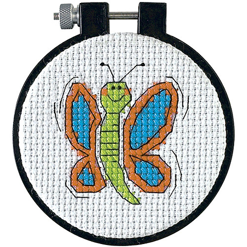 """Dimensions Learn-a-Craft Happy Wings Counted Cross Stitch Kit, 3"""" round"""