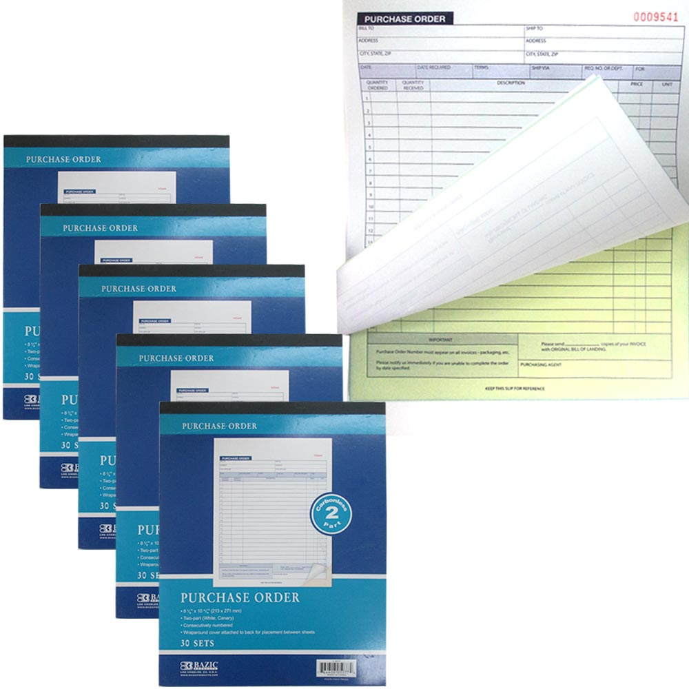 5X Carbonless Purchase Order Receipts Record Books 2 Part 30 Sets Duplicate Copy by Bazic