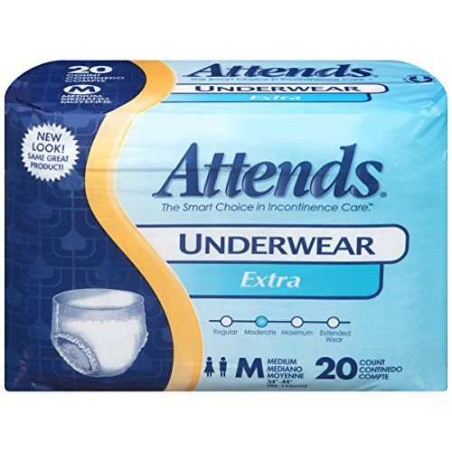 Attends Healthcare Products Attends Adult Pull-On Extra Absorbency Protective Underwear Medium, 34-44, 80 Count