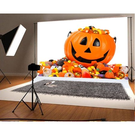 MOHome Polyester Fabric 5x7ft Halloween Photo Background Pumpkin Face Sugar for Children Photography Backdrops](Halloween Pumpkin Faces Photos)