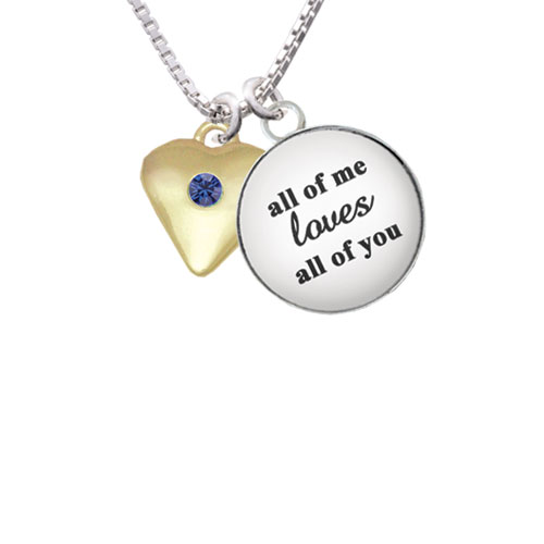 """Large Blue Birthday Crystal Gold Tone Heart All of Me Loves All of You Glass Dome Necklace, 18""""+2"""""""