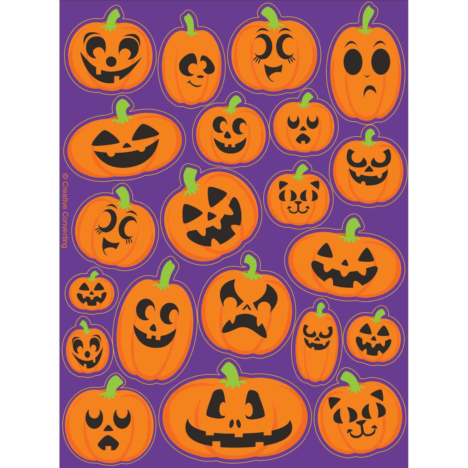 Pumpkin Faces Stickers, 4-Pack