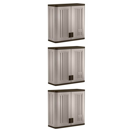 Suncast 4 Ft Resin Single Shelf Garage Wall Storage Cabinet, Platinum (3 Pack) Suncast Resin Storage