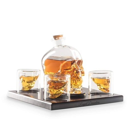 Halloween Themed Alcohol Shots (Royal Decanters Skull Shaped Glass Whiskey and Liquor Decanter Gift Set - Includes 4 Double Walled Skull Shot Glasses Also for Brandy Tequila Bourbon Scotch Rum -Alcohol Related Gifts for)