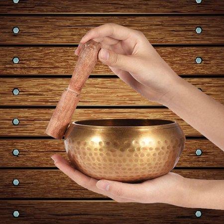 3.5 Inch Brass Singing Bowl + Wooden Hand Hammered  For Meditation yoga bowl Prayer Buddhist Tibetan Yoga Healing - image 3 de 7