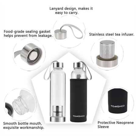 TOMSHOO Outdoor Sport Glass Water Bottle with Tea Filter Infuser Protective Bag Sleeve 550ml