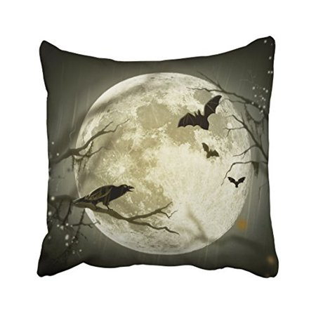 WinHome Vintage Halloween Moon Crow Bat Silhouette Personalized Polyester 18 x 18 Inch Square Throw Pillow Covers With Hidden Zipper Home Sofa Cushion Decorative Pillowcases