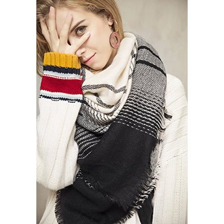 Metrust Plaid Square Scarf Women Checked Shawl Long Scarves Warm Tartan Blanket Cape - image 3 of 4
