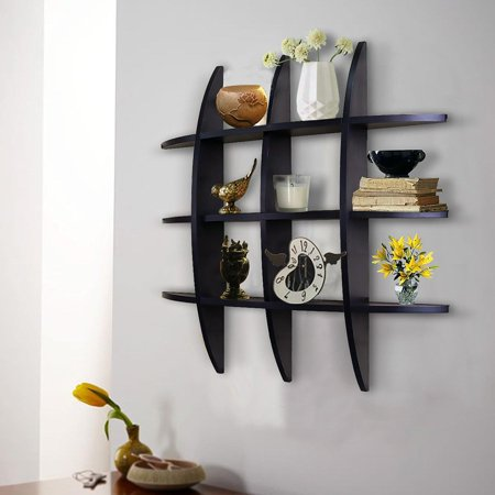 Ktaxon Cross Display Wall Shelf Decorative and Functional for Home Office (Black) Grid ()