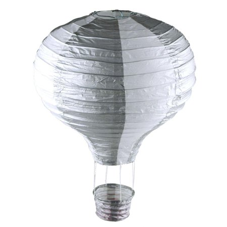Striped Paper Hot Air Balloon Hanging Decor, 15-Inch, SIlver - Hot Air Balloon Costume