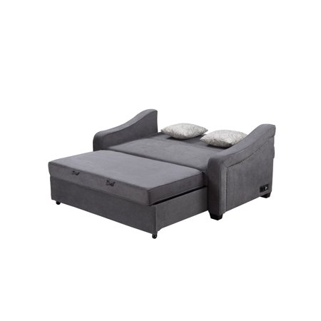Serta Harison Queen Sofa Bed with Power Strip, Gray