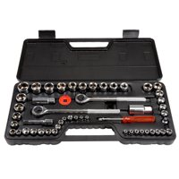 Stalwart 52-Piece 1/4, 3/8 and 1/2 Drive Metric and SAE Socket Set, W550057