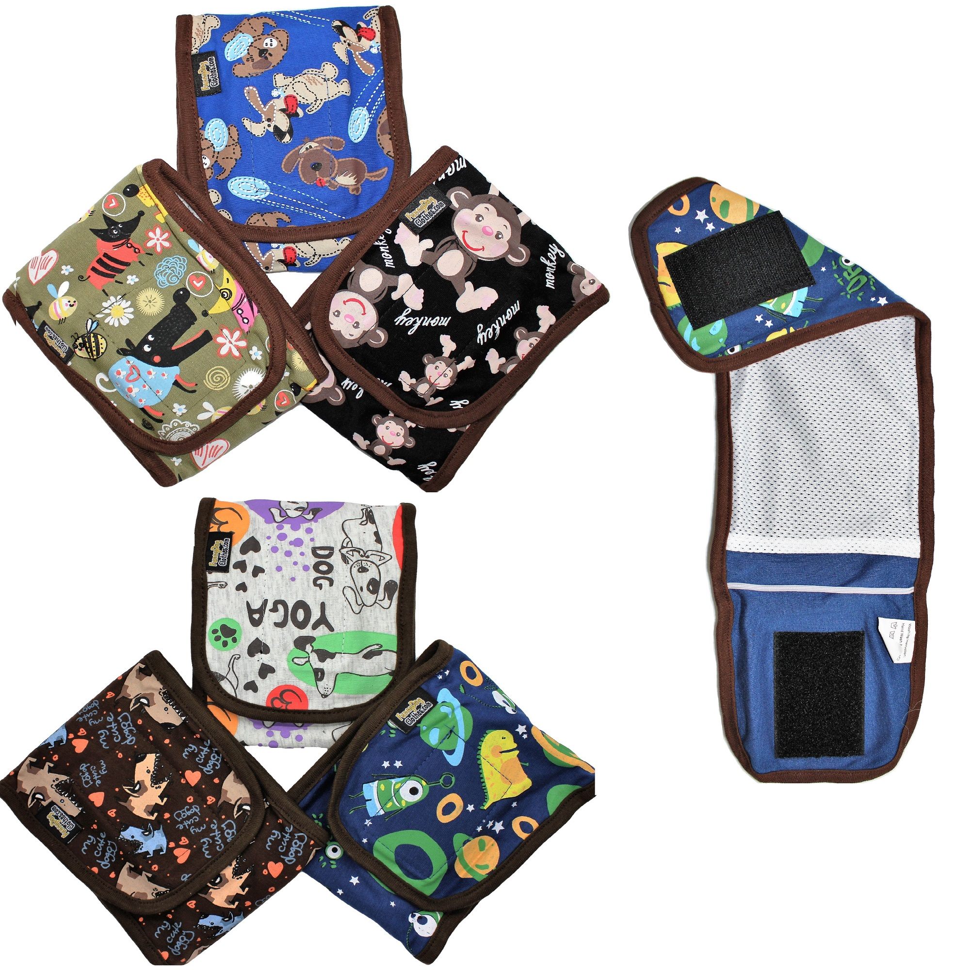 """SET - 3pcs WASHABLE Dog Diapers Male Boy BELLY BAND Wrap Reusable for SMALL Breeds BBG sz XX-Small (waist: 8"""" - 9"""")"""