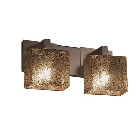 Modular Dark Bronze Chandelier - Justice Design  Group Fusion Modular 2-light Dark Bronze Bath Bar, Mercury Rectangle Shade