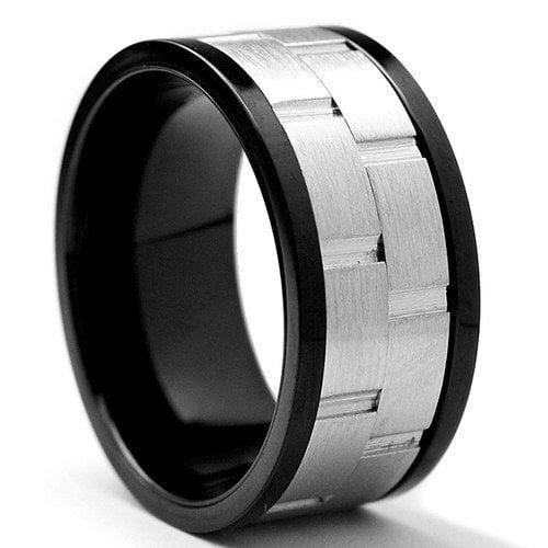 Bonndorf Laboratories Men's Black Stainless Steel Brick Comfort Fit Spinner Ring