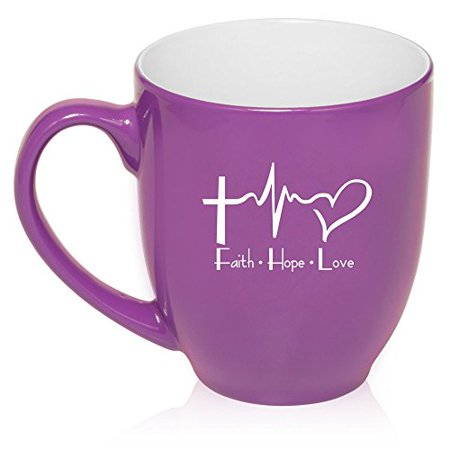 16 oz Large Bistro Mug Ceramic Coffee Tea Glass Cup Faith Hope Love EKG Christian (Large Glass Mug)
