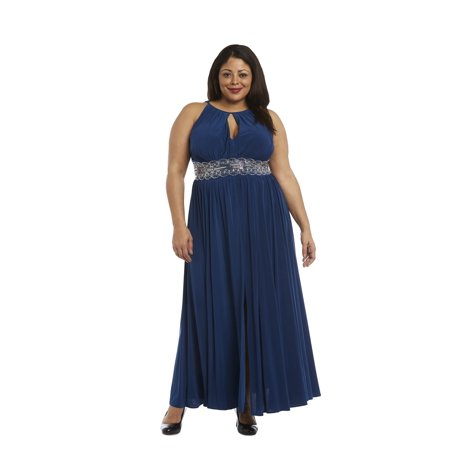 Plus 2 Piece Jacket Dress - Women's Plus Size 1 Piece Beaded Waist Long Dress