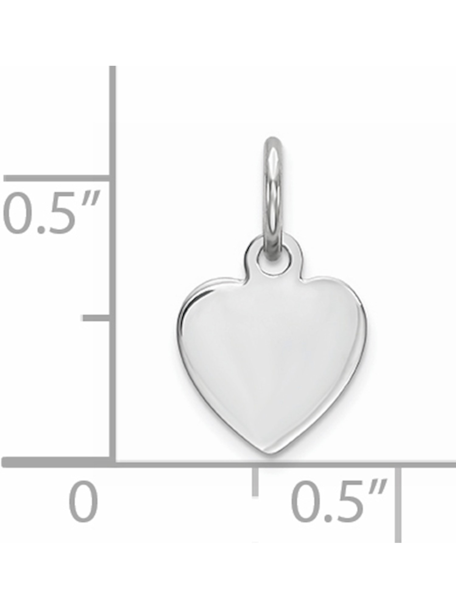 Sterling Silver Engraveable Heart Polished Front//Satin Back Disc Charm