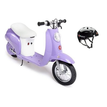 Razor Pocket Mod Betty 24V Electric Scooter (Purple) & Youth Helmet