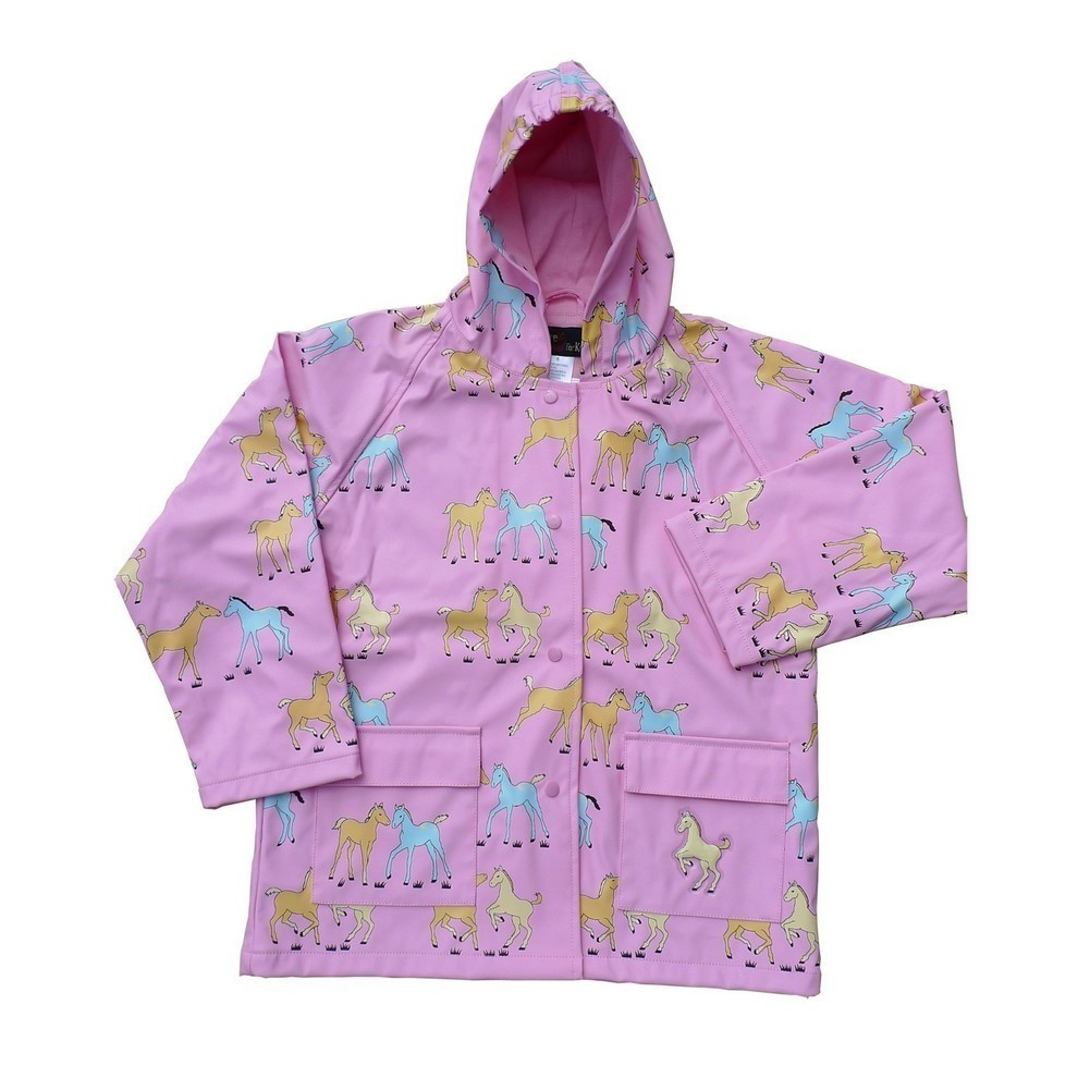 Little Girls Pink Pony Rain Coat 4T