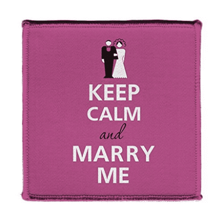 Keep Calm AND MARRY ME BRIDE AND GROOM MAROON - Iron on 4x4 inch Embroidered Edge Patch Applique (Maroon Applique)