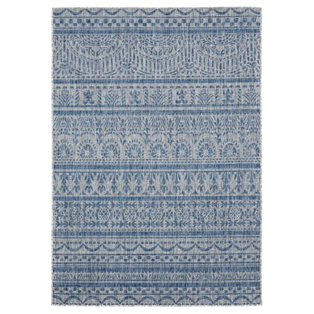 United Weavers Augusta Area Rugs - 3900 10160 Outdoor Blue Repeated Rows Banded Bulbs Rug
