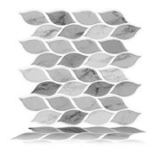 Tic Tac Tiles - Premium Anti Mold Peel and Stick Wall Tile Backsplash in Foglia Grigio (1 Tile)