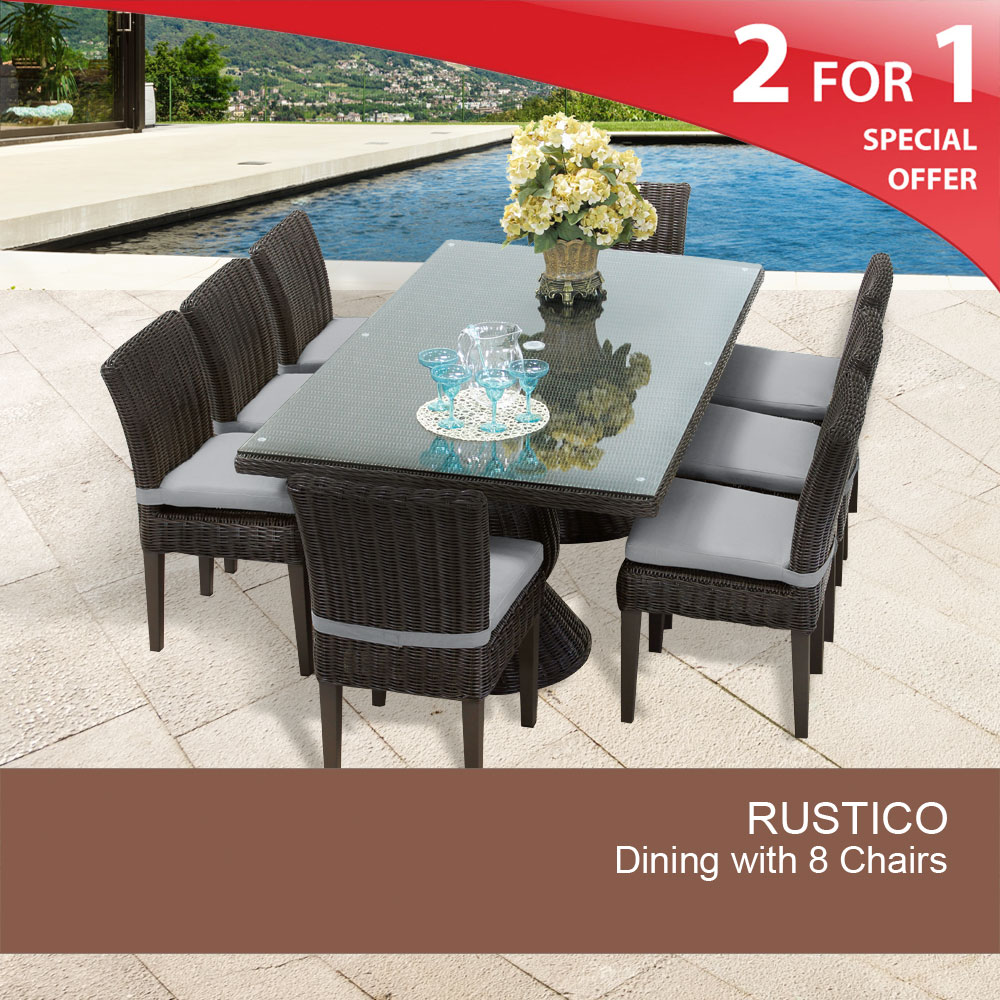 Rustico Rectangular Outdoor Patio Dining Table With 8 Chairs